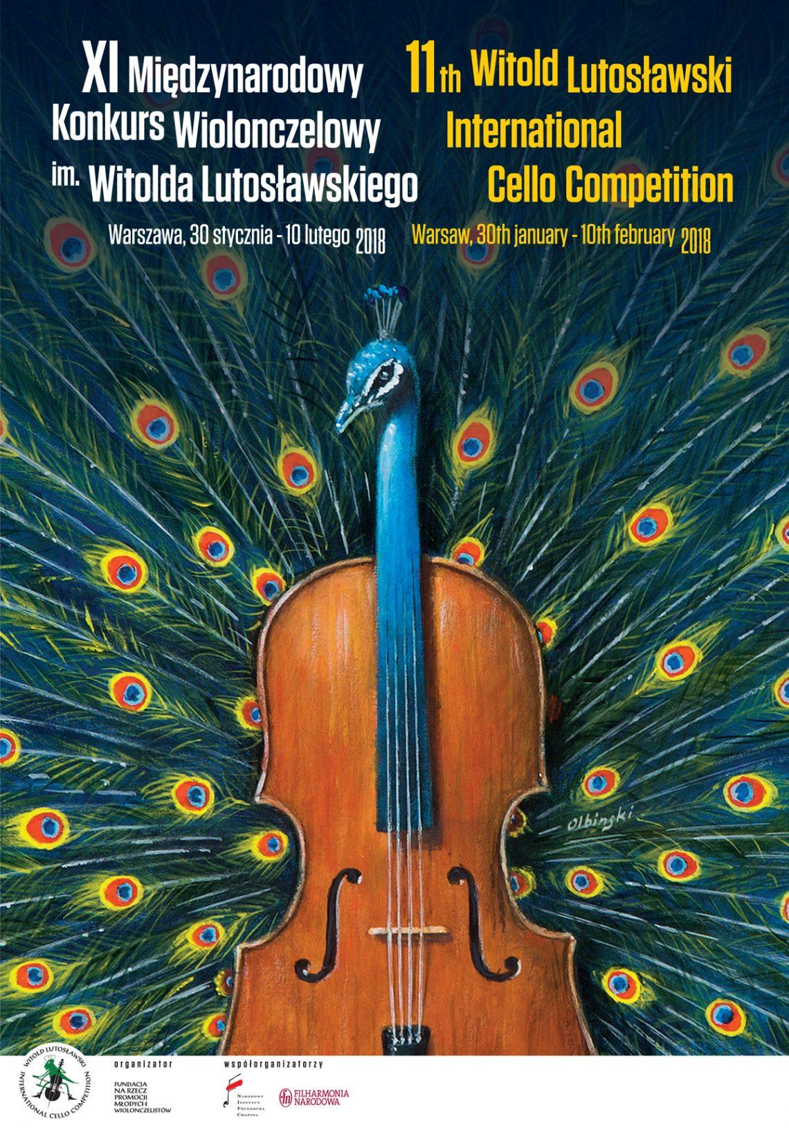 XI Międzynarodowy Konkurs Wiolonczelowy im. Witolda Lutosławskiego, plakat festiwalu