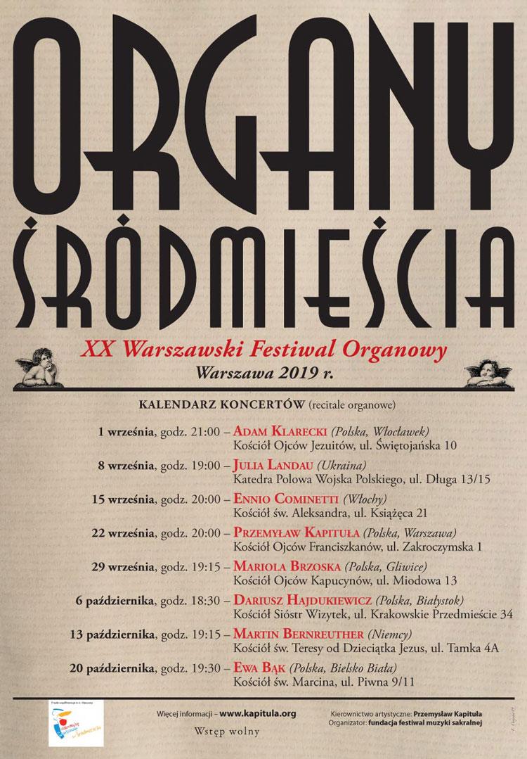 Organy Śródmieścia, plakat z programem zapowiadający festiwal