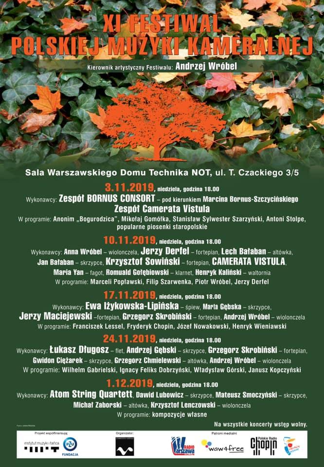 XI Festiwal Polskiej Muzyki Kameralnej, plakat z programem