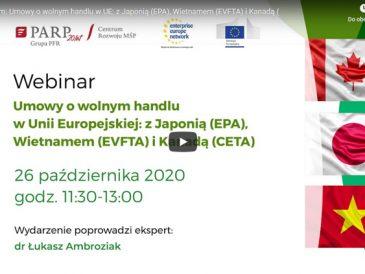 Trzy umowy o wolnym handlu, zaproszenie na webinar