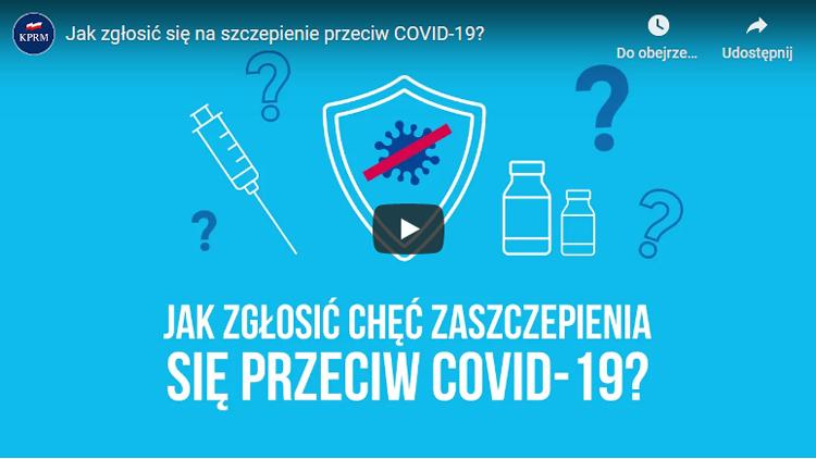 Jak zgłosić chęć szczepienia się przeciwko COVID-19? Obejrzyj film ze strony www.gov.pl/web/szczepimysie.