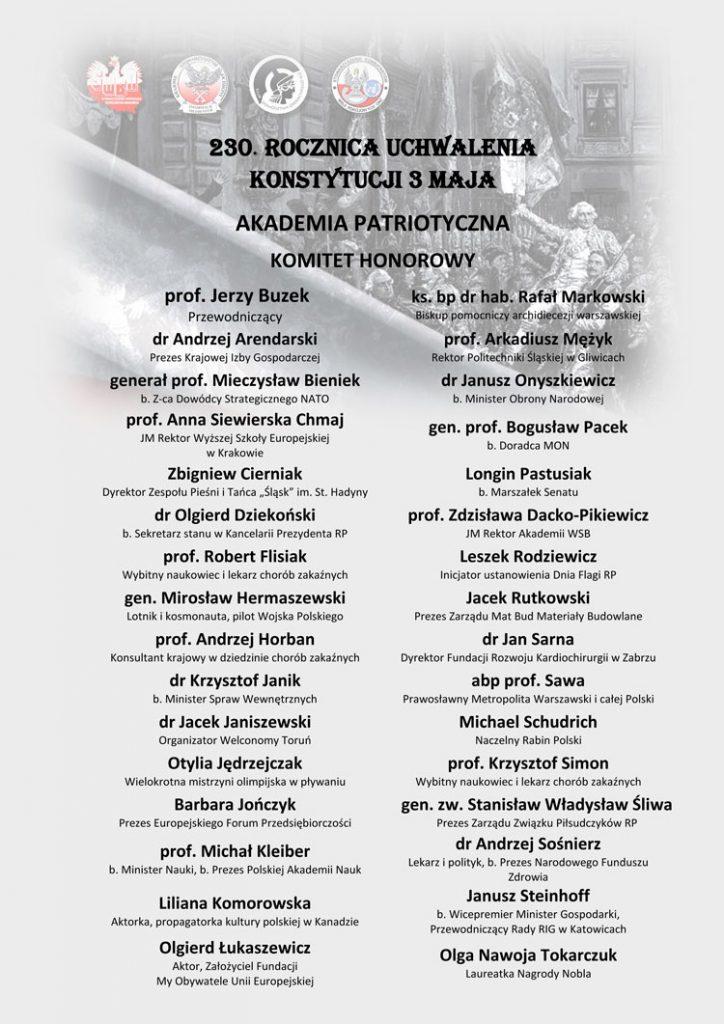 skład Komitetu Honorowego Akademii Patriotycznej