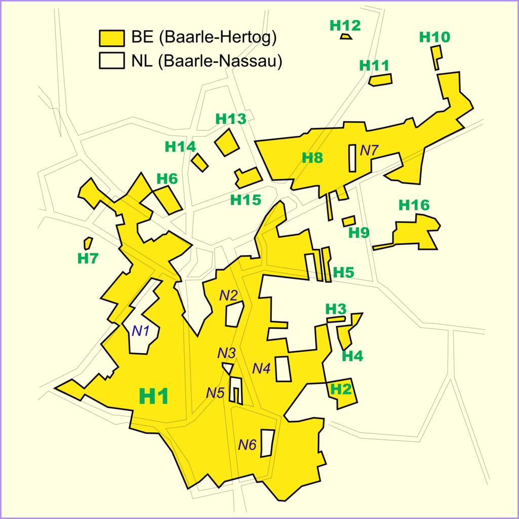 Na żółto belgijska część Baarle, kolorem jaśniejszym zaznaczona część holenderska