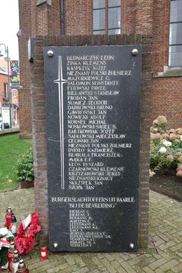 Tablica upamiętniająca Polaków poległych w walkach o Baarle