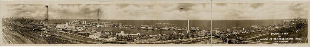 Panorama Wystawy Światowej w Chicago, widoczny po lewej transporter bridge był jej symbolem